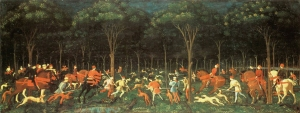Paulo Uccello, The Hunt in the Forest, c. 1470; a work from the Ashmolean Museum